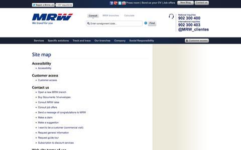 Screenshot of Site Map Page mrw-transporte.com - MRW - Site map - captured Sept. 18, 2014