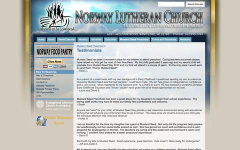 Screenshot of Testimonials Page google.com - Testimonials - My Norway Lutheran Church - captured May 30, 2016