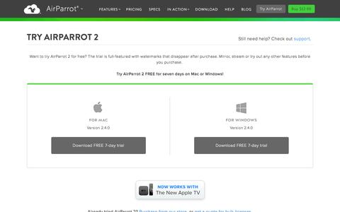 Screenshot of airsquirrels.com - Try AirParrot 2 free for 7 days and get wireless mirroring and streaming now - captured March 20, 2016