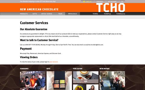Screenshot of Support Page tcho.com - Customer Services - TCHO - captured Sept. 17, 2014