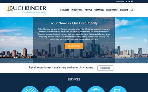 Screenshot of Home Page buchbinder.com - Tax, Assurance, & Accounting Services   Buchbinder - captured Nov. 13, 2018