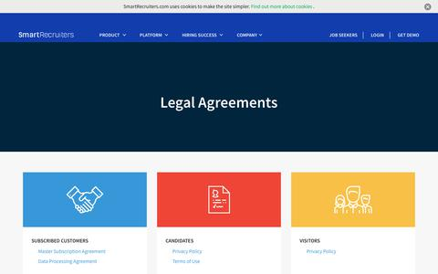 Screenshot of Terms Page smartrecruiters.com - Legal Agreements | SmartRecruiters - captured Feb. 23, 2019