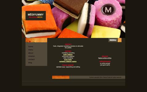 Screenshot of Menu Page mediyummy.com - Fresh Integrated Marketing Solutions - captured Oct. 7, 2014