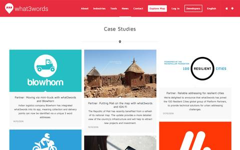 Screenshot of Case Studies Page what3words.com - Case Studies | what3words - captured Oct. 15, 2016