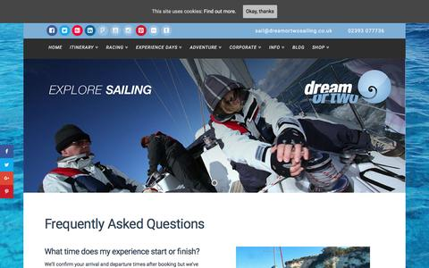 Screenshot of FAQ Page dreamortwosailing.co.uk - FAQ - Dream or Two Sailing - all you need to know - captured Dec. 27, 2016