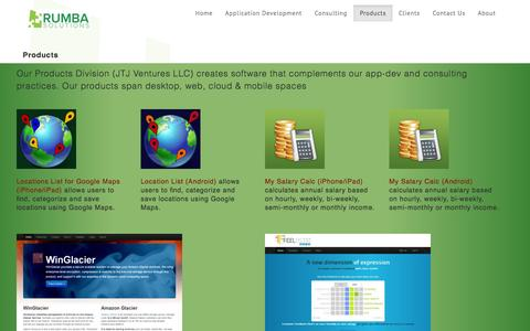 Screenshot of Products Page rumbasolutions.com - Rumba Solutions - captured Sept. 26, 2014