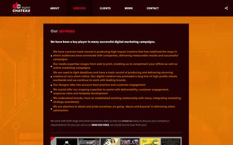 Screenshot of Services Page digitalchateau.co.uk - DIGITAL CHATEAU | CREATIVE NEW MEDIA | GRAPHIC AND WEB DESIGN - captured Sept. 30, 2014