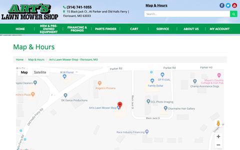Screenshot of Locations Page artslawnmowershop.com - Location Detail - Art's Lawn Mower Shop - Florissant, MO Art's Lawn Mower Shop Florissant, MO (314) 741-1055 - captured Oct. 4, 2018