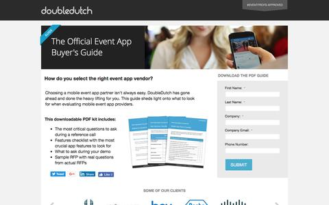 Screenshot of Landing Page doubledutch.me - The Official Event App Buyer's Guide - captured July 27, 2016
