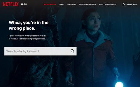 Screenshot of Jobs Page netflix.com - We Are Netflix | Netflix Jobs - captured March 10, 2018
