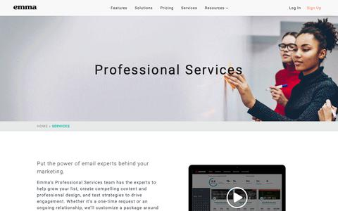 Screenshot of Services Page myemma.com - Professional Services   Emma Email Marketing - captured Oct. 18, 2018
