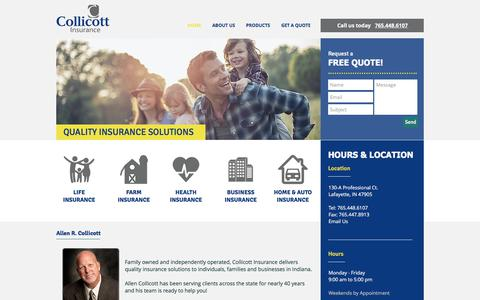 Screenshot of Home Page collicottinsurance.com - Collicott Insurance - captured July 20, 2018
