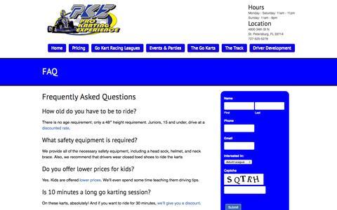 Screenshot of FAQ Page prokartexp.com - Family Friendly Go Karts | Birthday Parties & Corporate Events - captured Nov. 2, 2014