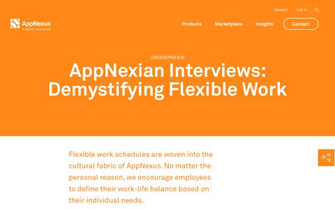 Screenshot of Blog appnexus.com - AppNexian Interviews: Demystifying Flexible Work | AppNexus - captured Nov. 18, 2019