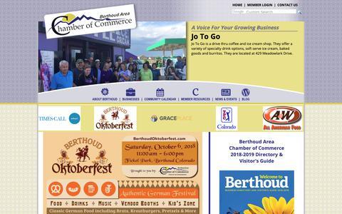 Screenshot of Home Page berthoudcolorado.com - Berthoud Area Chamber of Commerce - captured Sept. 30, 2018