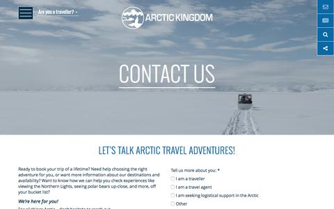 Screenshot of Contact Page arctickingdom.com - Contact Us For More Information | Arctic Kingdom - captured May 30, 2017