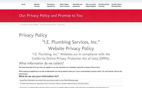 Screenshot of Privacy Page menifeeplumber.org - Privacy Policy - Menifee Plumber (951) 375-9599 - captured March 11, 2016
