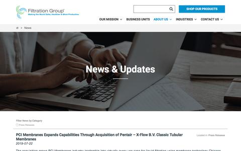 Screenshot of Press Page filtrationgroup.com - News Archive - Filtration Group - captured Sept. 22, 2019