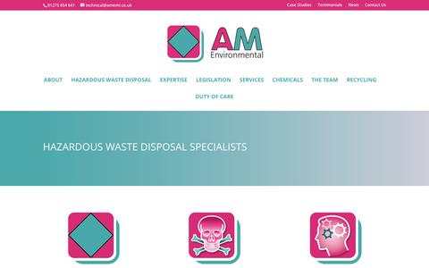 Screenshot of Home Page ameml.co.uk - AM Environmental | AM Environmental Management Limited - captured Sept. 27, 2018