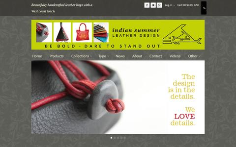 Screenshot of Home Page indiansummerleather.com - Branded leather bags and purses Indian Summer Leather - captured Sept. 19, 2014