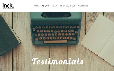 Screenshot of Testimonials Page inck.com.au - Testimonials — HOME - captured Oct. 15, 2017