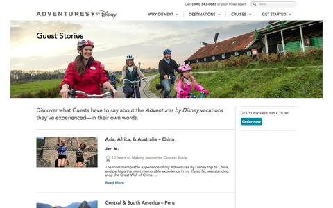 Screenshot of Testimonials Page adventuresbydisney.com - Guest Stories - Vacation Testimonials & Experiences | Adventures By Disney - captured June 26, 2017