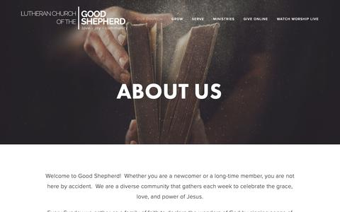 Screenshot of About Page lcgs.net - About Us — Lutheran Church of the Good Shepherd - captured Sept. 30, 2018