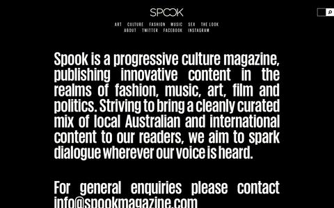 Screenshot of About Page spookmagazine.com - About | Spook Magazine - captured Sept. 23, 2014