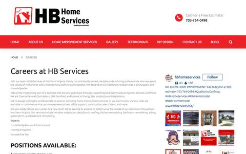 Screenshot of Jobs Page hb-service.biz - Careers HB Home Services | Northern Virginia Home Improvement | HB Home Services - captured Sept. 25, 2018