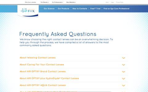 Screenshot of FAQ Page airoptix.com - AIR OPTIX® Contacts FAQ | AirOptix.com - captured Sept. 13, 2017