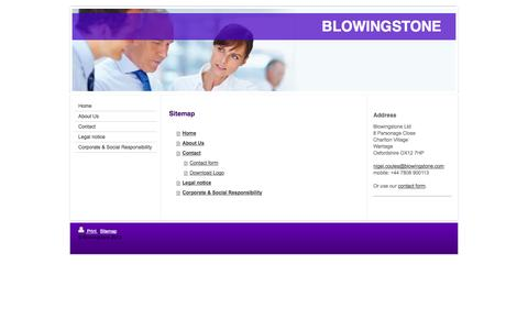 Screenshot of Site Map Page blowingstone.com - Home - Blowingstone - captured Oct. 5, 2014