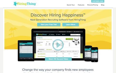 Screenshot of Home Page hiringthing.com - HiringThing - captured Jan. 14, 2015