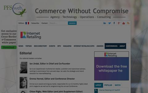 Screenshot of Team Page internetretailing.net - Editorial - Internet Retailing - captured Jan. 9, 2016