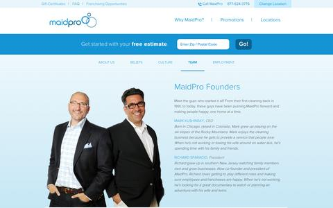 Screenshot of Team Page maidpro.com - The MaidPro Team | About MaidPro - captured Sept. 19, 2014