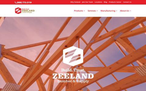 Screenshot of Home Page zeelandlumber.com - Zeeland Lumber & Supply - Windows, Cabinets, Roofing, Decking and More - captured July 21, 2018