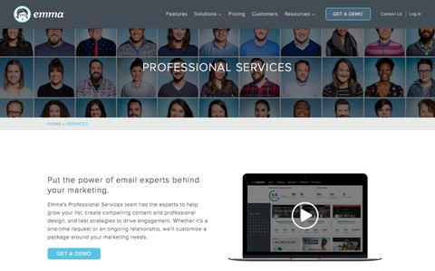 Screenshot of Services Page myemma.com - Professional Services | Emma Email Marketing - captured Nov. 4, 2017