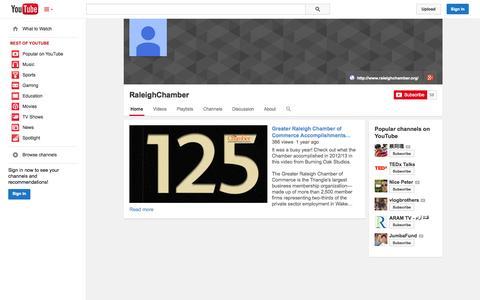 Screenshot of YouTube Page youtube.com - RaleighChamber  - YouTube - captured Oct. 22, 2014