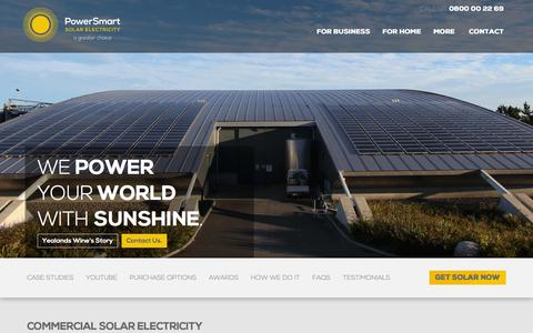 Screenshot of Home Page powersmartsolar.co.nz - Experts in Solar Power | Powersmart Solar Electricity - captured Jan. 30, 2016