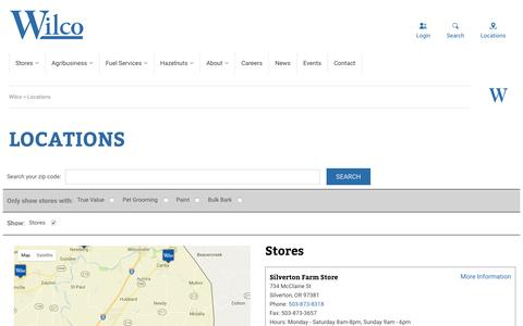 Screenshot of Login Page Locations Page wilco.coop - Locations – Wilco - captured Jan. 29, 2017