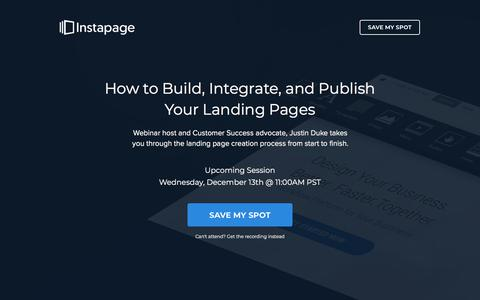 Screenshot of instapage.com - Master Instapage in 30 Minutes - captured Dec. 8, 2017