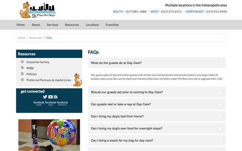 Screenshot of FAQ Page barkefellers.com - Dog & Cat Lodging, Training | Indianapolis, Zionsville IN | Barkefellers - captured Dec. 30, 2015
