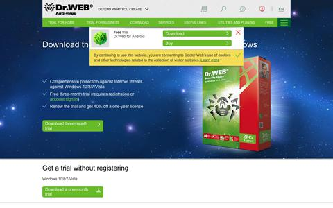 Screenshot of Trial Page drweb.com - Dr.Web anti-virus / Download - captured Sept. 21, 2018