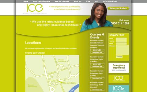 Screenshot of Locations Page icedentalimplants.co.uk - Locations - captured Oct. 3, 2014