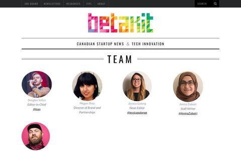 Screenshot of Team Page betakit.com - Team | BetaKit - captured Aug. 1, 2018