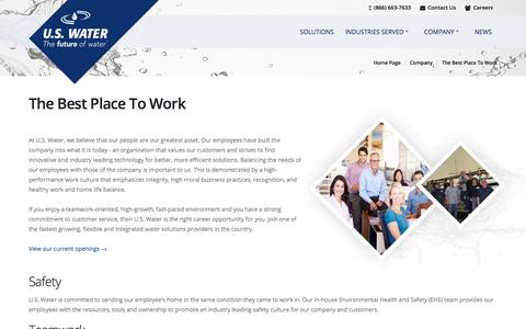 Screenshot of Jobs Page uswaterservices.com - The Best Place To Work - captured July 17, 2018