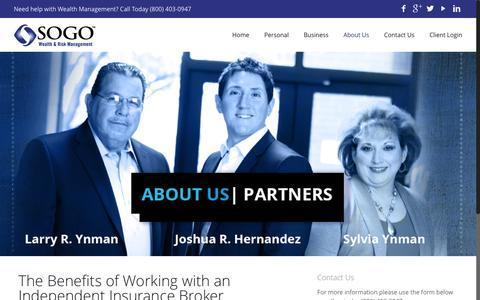 Screenshot of About Page sogowrm.com - About Us - Sogo Wealth & Risk Management - captured Nov. 18, 2016