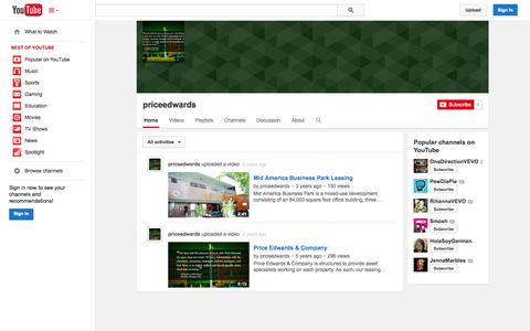 Screenshot of YouTube Page youtube.com - priceedwards  - YouTube - captured Oct. 22, 2014