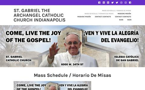 Screenshot of Home Page stgabrielindy.org - St. Gabriel the Archangel Catholic church Indianapolis - captured April 26, 2017