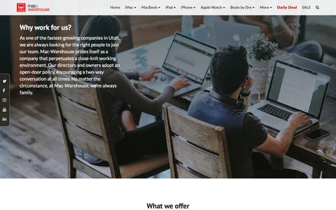 Screenshot of Jobs Page mac-warehouse.com - Careers | Mac-Warehouse - captured Nov. 20, 2018