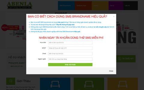 Screenshot of Home Page abenla.com - SMS BrandName,sms brandname,sms gia re,sms mien phi,dịch vụ SMS,SMS API - captured Dec. 17, 2018